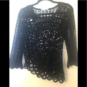 Tempo Paris Small Black Crochet Top Blouse.